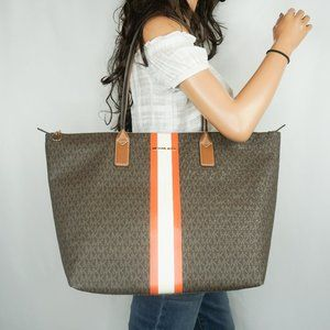 Michael Kors Travel L TZ Tote MK Brown Tangerine